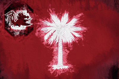 Digital Art - Gamecocks South Carolina State Flag by JC Findley