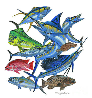 Painting - Gamefish Collage by Carey Chen