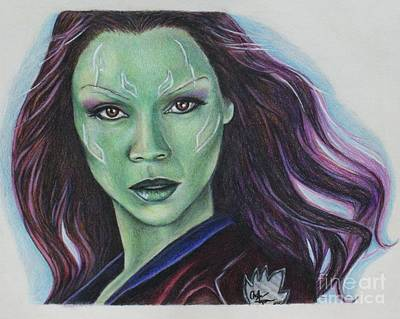 Drawing - Gamora / Zoe Saldana by Christine Jepsen