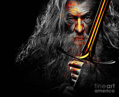 Portraits Digital Art - The Leader Of Mankind  - Gandalf / Ian Mckellen by Prar Kulasekara