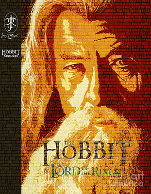 Jrr Drawing - Gandalf The Lord Of The Rings Book Cover Movie Poster Art 1 by Nishanth Gopinathan