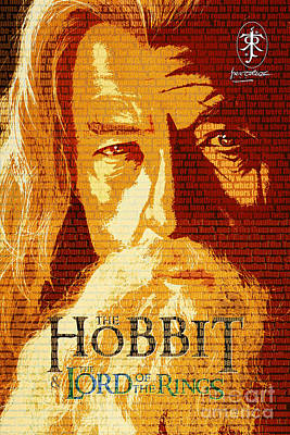 Lord Drawing - Gandalf The Lord Of The Rings Book Cover Movie Poster Art 2 by Nishanth Gopinathan