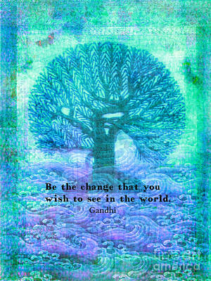 Gandhi Change Quote With Tree Art Print