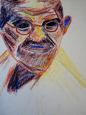 World Leader Drawing - Gandhi Portrait by Kathleen Fitzpatrick