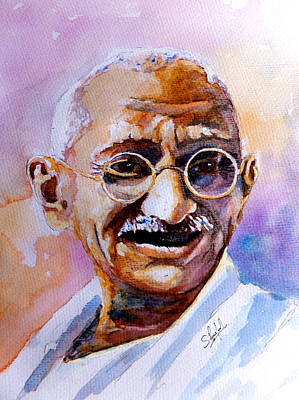 Art Print featuring the painting Gandhi by Steven Ponsford