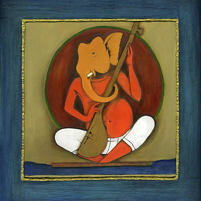 Indian Musical Instrument Painting - Ganeha With His Strings by Rucha Joshi
