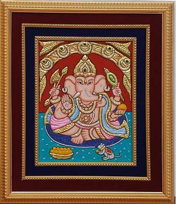 Vinayaka Painting - Ganesh Ji Tanjore Art by Vimala Jajoo