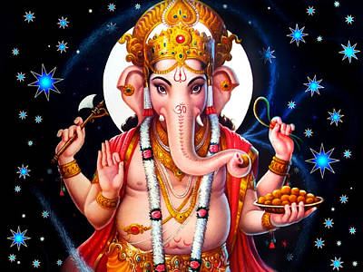 Temple Mixed Media - Ganesh Twilight by Khalil Art