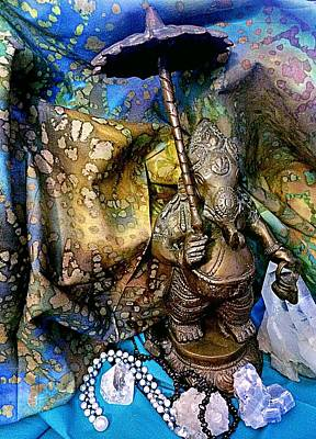 Photograph - Ganesh With Crystals Stilllife  by Ellen Levinson