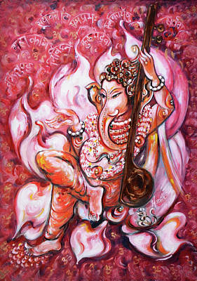 Painting - Ganesha - Enjoying Music by Harsh Malik