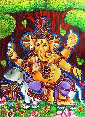 Ganesha Hindu Colored Mural Painting Art Print by Arun Sivaprasad