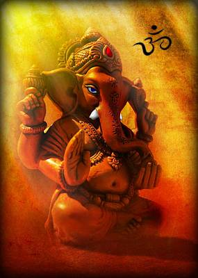 Digital Art - Ganesha Hindu God Asian Art by John Wills