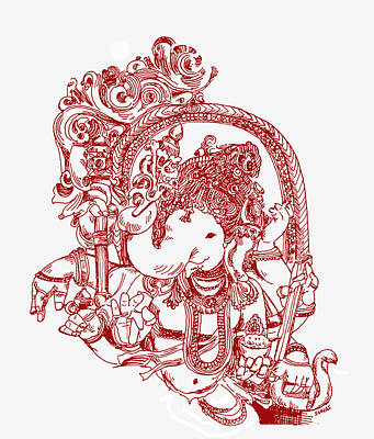 Photograph - Ganesha Line Drawing by Suhas Tavkar