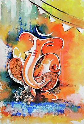 Ganapathi Painting - Ganesha by Hermana Arts