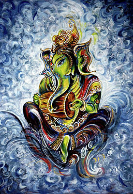 Mixed Media - Ganesha Mridangam  by Harsh Malik