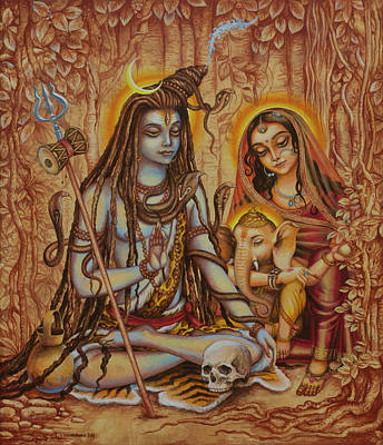 Parvati Painting - Ganesha Parvati Mahadeva by Vrindavan Das