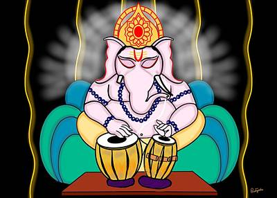Ganesha Playing Tabla Art Print by Pratyasha Nithin