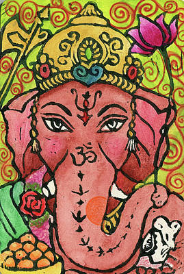Religious Mixed Media - Ganesha Portrait by Jennifer Mazzucco