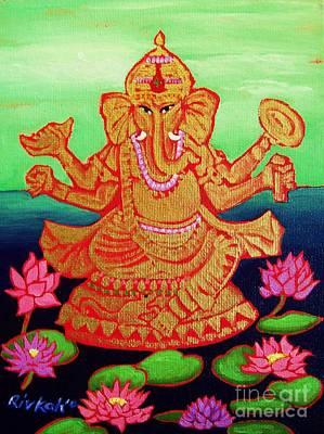 Diwali Painting - Ganesha by Rivkah Singh