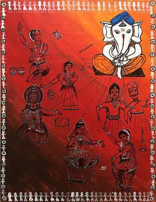Warli Painting - Ganesha - Sutradhar  by Aarti Bartake