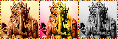 Digital Art - Ganesha Triptych by Lita Kelley