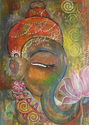 Ganesha With A Pink Lotus Art Print