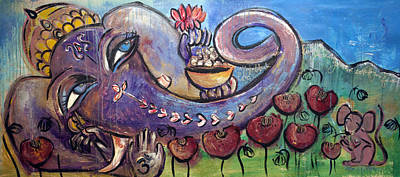 Ganesha Painting - Ganesha With Poppies by Laurie Maves ART