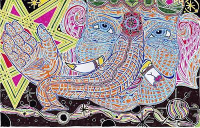 Bright Colours Drawing - Ganesha1 by Aaron Cramton