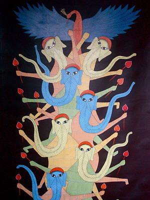 Gond Art Painting - Ganeshas by Bhajju Shyam