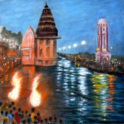 Ganga Painting - Ganga Aarti At Haridwar by Uma Krishnamoorthy