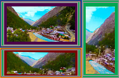 Mixed Media - Gangotri Dham Where The Holy River Ganges Originates Panoramic Views By Navin Joshi by Navin Joshi