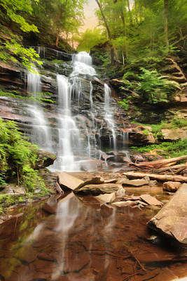 Ganoga Falls Ricketts Glen Art Print by Lori Deiter