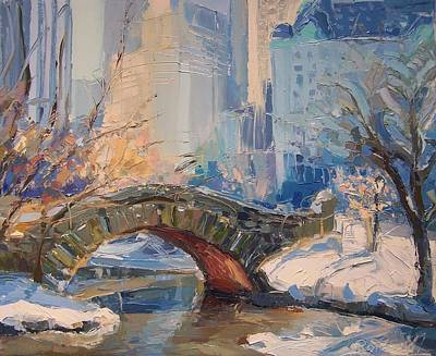 Early Spring Painting - Gapstow Bridge  by Roland Kay