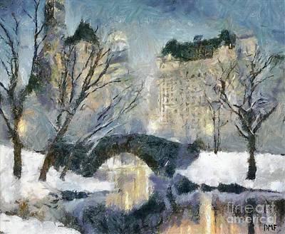 City Scenes Paintings - Gapstow Bridge in Snow by Dragica  Micki Fortuna