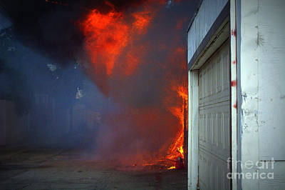 Fire Photograph - Garage From Hell by Leah McPhail