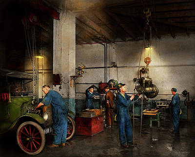 Photograph - Garage - Mechanic - The Overhaul 1919 by Mike Savad