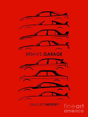 Art Car Digital Art - Garage Of Brian Silhouettehistory by Gabor Vida