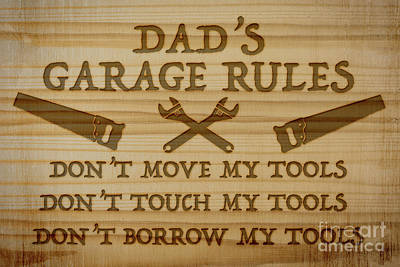 Wood Burned Digital Art - Garage Sign Collection-d by Jean Plout