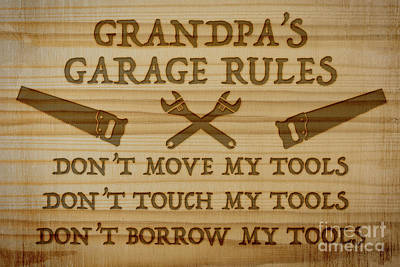 Wood Burned Digital Art - Garage Sign Collection-e by Jean Plout