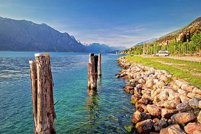 Photograph - Garda Lake Coastline In Malcesine View by Brch Photography
