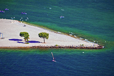 Photograph - Garda Lake Strand Beach Aerial View On Sarca River Mouth by Brch Photography