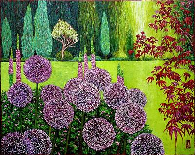 Allium Painting - Garden At Cecil Green Park House by Linda J Bean