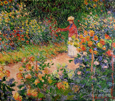 By Women Painting - Garden At Giverny by Claude Monet