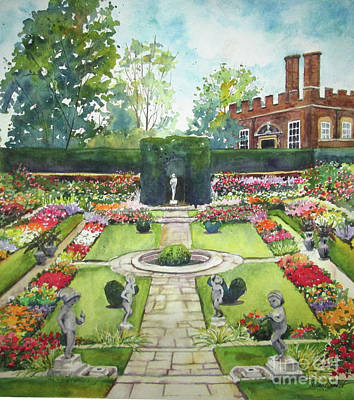 Art Print featuring the painting Garden At Hampton Court Palace by Susan Herbst