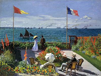 Travel Pics Royalty-Free and Rights-Managed Images - Garden at Sainte Adresse by Claude Monet by Claude Monet