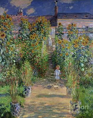 Sunflower Painting - Garden At Vetheuil by Claude Monet