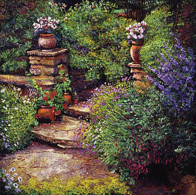 Garden At Villa Verona Original by David Lloyd Glover