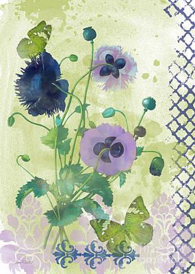 Butterfly On Blue Flower Painting - Garden Beauty-jp2963 by Jean Plout