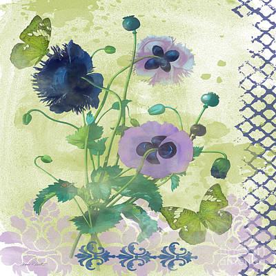 Butterfly On Blue Flower Painting - Garden Beauty-jp2963b by Jean Plout