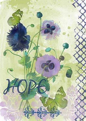 Butterfly On Blue Flower Painting - Garden Beauty-jp2964 by Jean Plout
